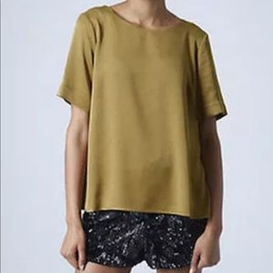 Topshop olive green pleated top